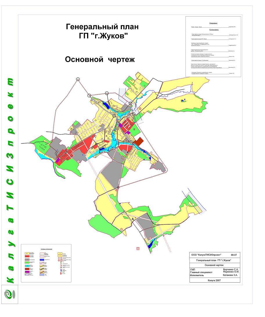 Генеральный план г.Жуков Схема зон функционального назначения и использования.